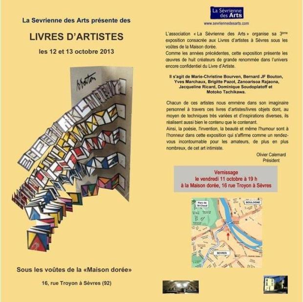 Carton d'invitation - Exposition de Livres d' Artistes 2013 - Sèvres - recto verso - 02